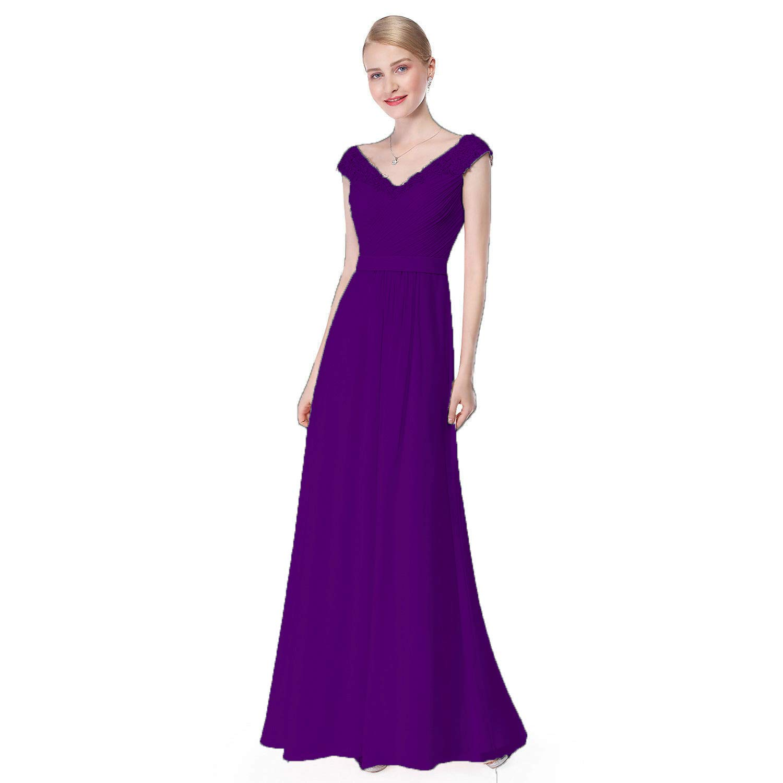 Purple Ruiyuhong Women's Aline Sleeveless Bridesmaid Dresses VNeck Wedding Party Gown