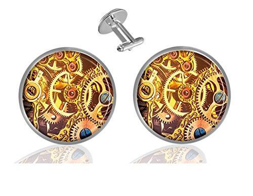 Sechao Gold Pocket Watch Gears Custom Elegant Personalized Business Wedding Shirt Formal Cufflinks (Designer Pocket Watch)
