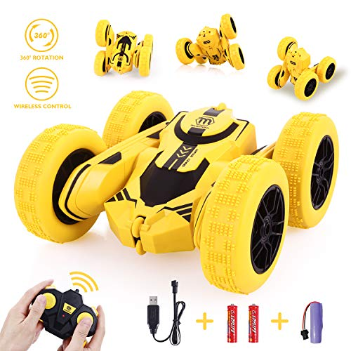 Peradix Remote Control Car, RC Stunt Car 2.4GHZ- 4WD- 360 Degrees Flip Car Toys Games For Boys Girls Kids Children-Yellow