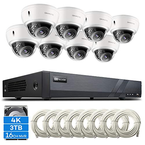 ONWOTE 16 Channel 4K IP PoE Security Camera System 3TB HDD, 16CH 4K H.265 NVR, (8) Outdoor 4K 3864x 2160 8.34 Megapixels PoE IP Camera, Vandalproof Dome, 100ft IR, 110° Viwe Angle, Easy Remote Access