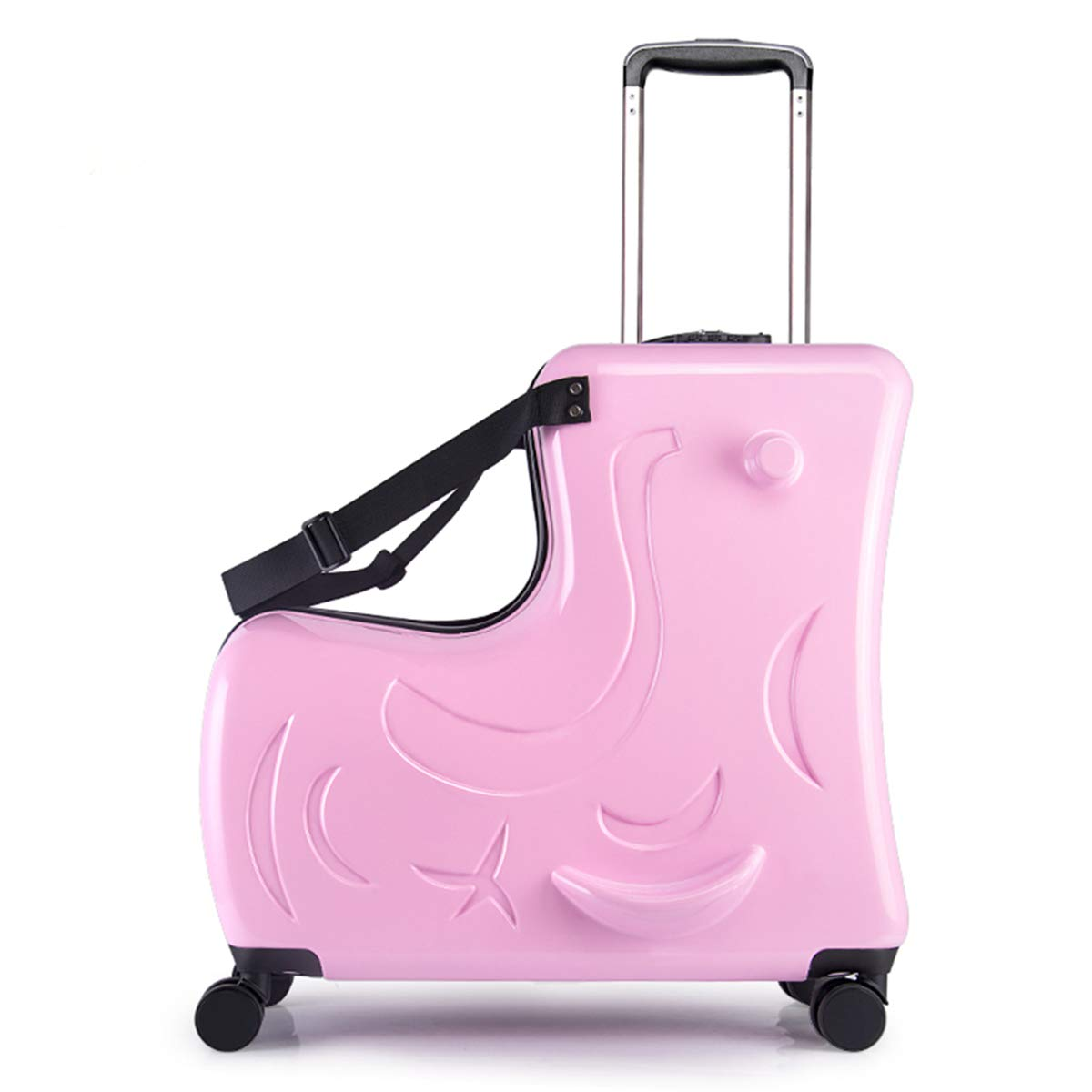 Portable children's travel thickening trolley case,Unisex Travel Tots Kids trunk (Color:pink,Size:20 inch) by wangbaochang2017