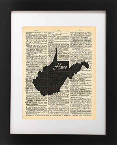West Virginia State Vintage Map Vintage Dictionary Print 8x10 inch Home Vintage Art Abstract Prints Wall Art for Home Decor Wall Decorations For Living Room Bedroom Office Ready-to-Frame ()