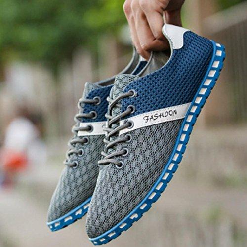 Transpirables Nuevos Zapatos Cómodas Zapatillas Manera de Ocasionales la de la Planos Malla Deporte de Estilo Landfox Hombres del Gris ZwaqdPd