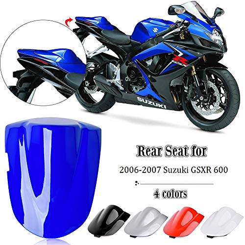 FATExpress for 2006-2007 Suzuki GSXR GSX-R 600 750 Motorcycle Aftermarket Rear Passenger Pillion Solo Seat Cowl Hard ABS Motor Fairing Tail Cover K6 06-07 (Sliver)
