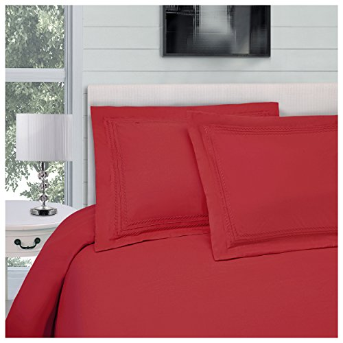 Superior Infinity Embroidered Luxury Soft, Cooling 100% Brushed Microfiber Duvet Cover Set with Pillow Sham, Light Weight and Wrinkle Resistant - Twin/Twin XL Duvet Cover, Red