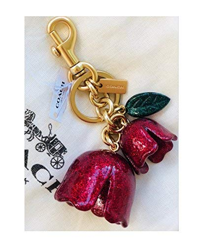 COACH Red glitter Tea Rose Keychain Key Fob Charm F58514
