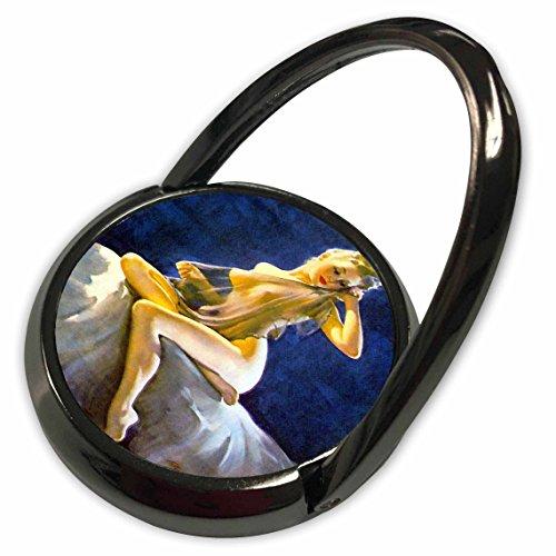 3dRose Florene - Retro Pinups - Print of Elvgren Pinup Sheer Nude - Phone Ring ()