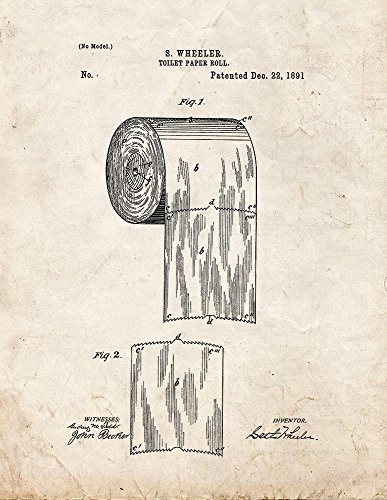 Toilet Paper Roll Patent Print Art Poster Old Look (11'' x 14'') by Frame a Patent