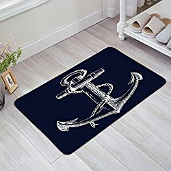 "Indoor Doormat Stylish Welcome Mat Nautical Anchor Navy Blue Entrance Shoe Scrap Washable Apartment Office Floor Mats Front Doormats Non-Slip Bedroom Carpet Home Kitchen Rug 18""x30"""