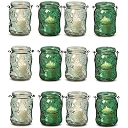 The Farmer's Market Fancy Mason Jar Candle Holders, Butterflies and Flowers, Set of 12, Vintage Rustic Style Hurricane Lanterns, Glass, Shades of Green, Mixed, 6 Inches Tall, By WHW