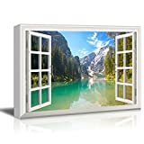 Window View Nature Landscape with Clear River and Forest in Mountains Gallery 24x36 inches