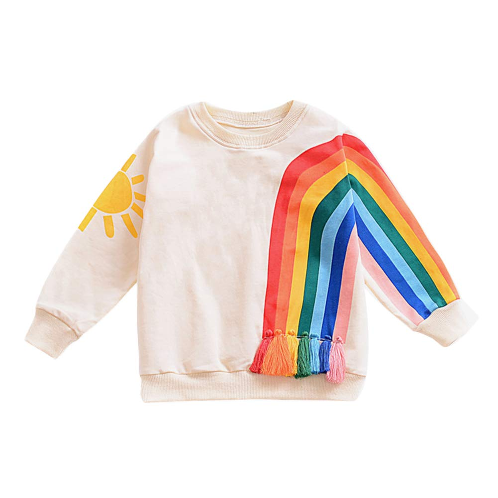 Verypoppa Kids Girls Long Sleeve Sweatshirt Rainbow Sun Print Pullover Shirt Top