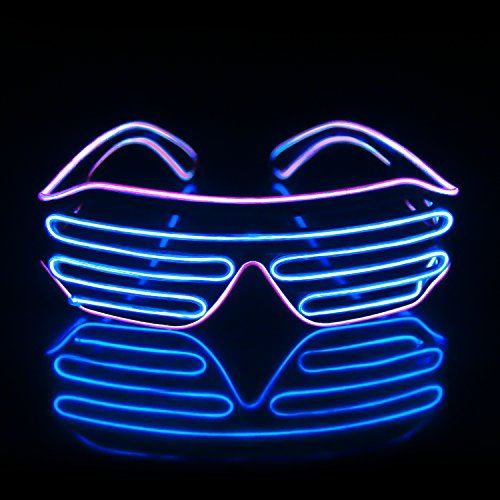 iChase LED Glasses,Light Up Sunglasses EL Wire Neon Flashing Rave Costumes for Party Supplies Party Favors