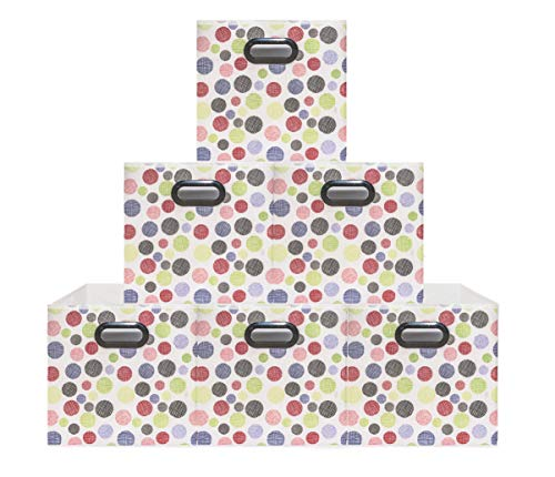 (6 Pack Polka Pattern) Unique Design Storage Bins,Stylish Containers, Gift Boxes,Strong Beautiful Tote, Baskets| Two Plastic Handles Collapsible Cubes Household Organization |for Nursery or Offices ()