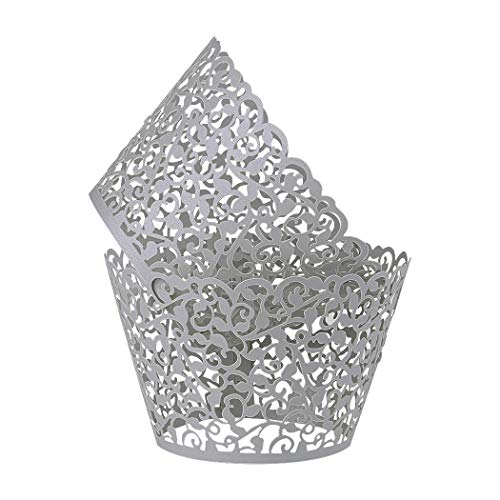 Benbilry 50 PCS Cupcake Wrappers Artistic Bake Cake Paper Cups Laser Cut for Wedding Party Birthday Decoration (Grey)