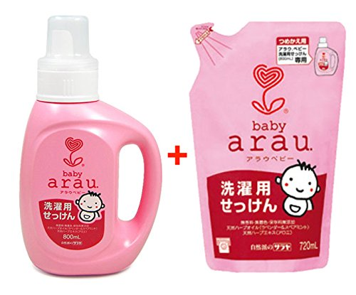 Arau Saraya Baby Laundry Soap (Pure Soap), Parallel Import Product, Made in Japan (Bottle & Refill Set) by Arau