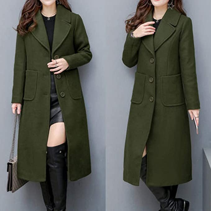 Amazon.com: Besde Womens Autumn and Winter Fashion Classic Lapel Shift Woolen Trench Coat Double-Sided Cashmere Loose Button Long Coat: Pet Supplies