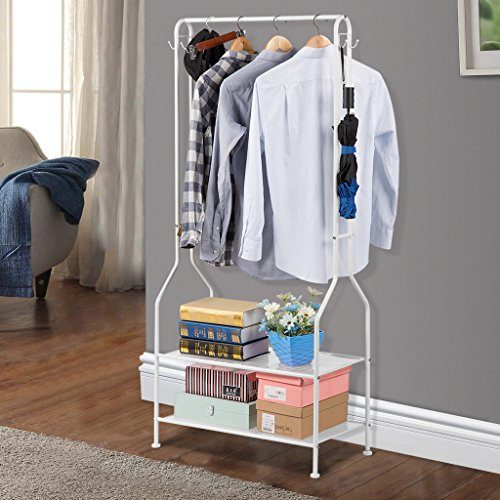 LANGRIA Heavy Duty Commercial Grade Clothing Garment Rack, 2-Tier Entryway Metal Coat Rack and Shoe Bench Storage Stand with Single Rod and 4 Hooks for Home Office Bedroom Max Capacity 66.1lbs, White (Commercial Grade Metal)