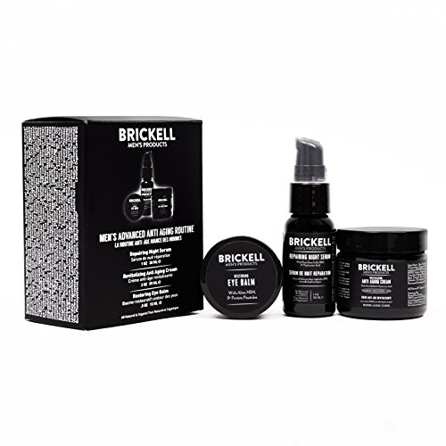 Brickell Men's Advanced Anti-Aging Routine - Night Face Cream, Vitamin C Facial Serum and Eye Cream - Natural & Organic - Scented