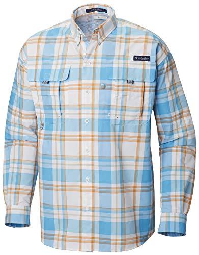 Columbia Men's Super Bahama Long Sleeve Shirt, Riptide Multi Plaid, Medium