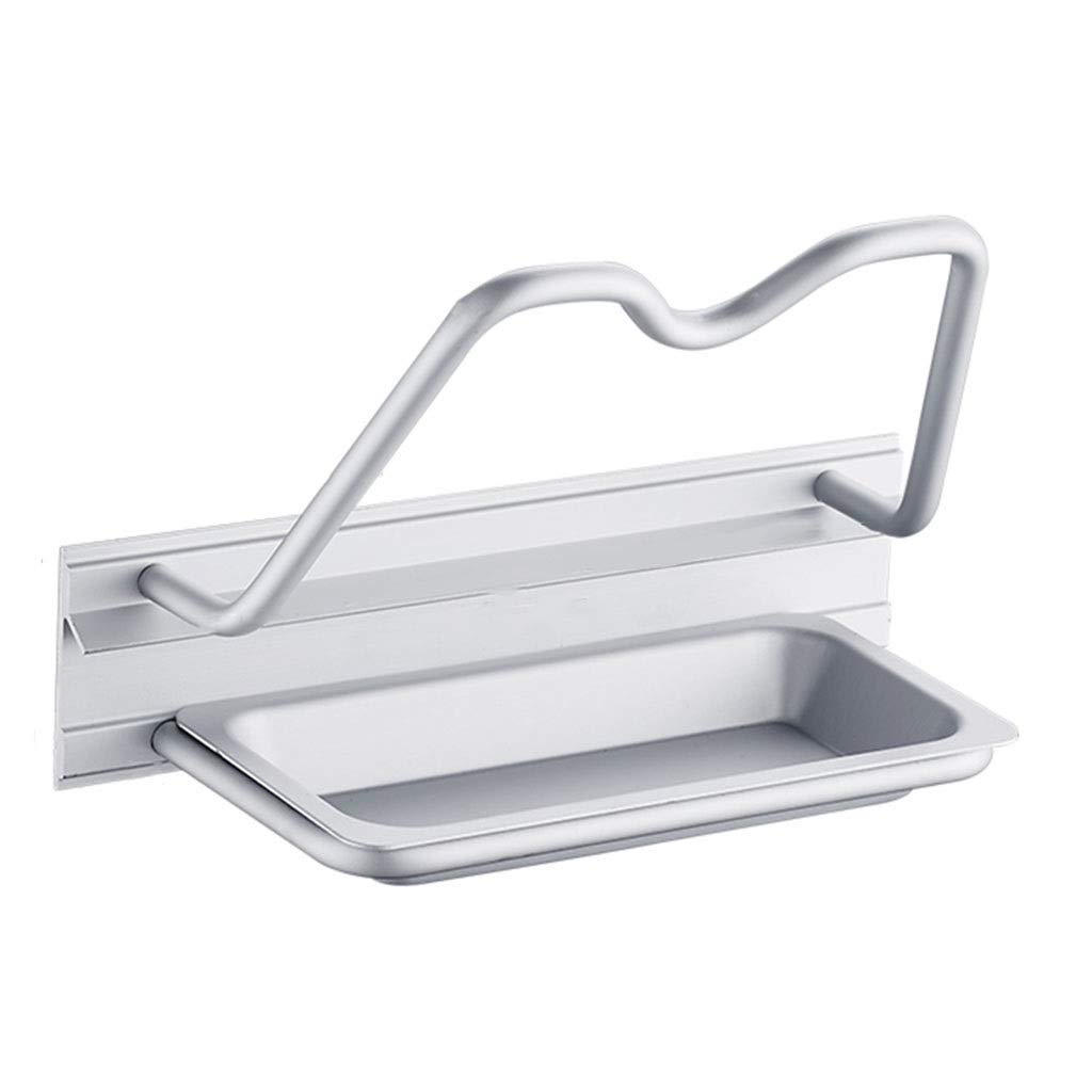 YHY Cover Organizer Space Aluminum Wall-mounted Punch-free Kitchen Lid Organizer Home Multi-function Lid Storage Rack (Color : SILVER, Size : 19158CM) by YHY