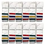 Yacht & Smith Mens & Childrens Referee Old School Tube Socks, Striped, by SOCKS'NBULK (12 Pack White with Stripes, Mens (10-13))