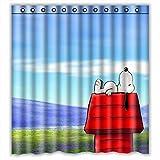 Custom Comic Cartoon Snoopy in Relax Waterproof Bathroom Shower Curtain Polyester Fabric Shower Curtain Size 66 X 72 by Shower Curtain