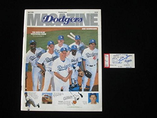 Tom Lasorda Autographed 1988 Opening Day Ticketstub and Program - Autographed MLB Magazines