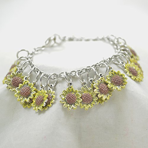 Hand-Painted Sunflower Charm Bracelet