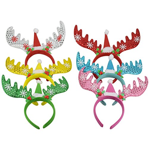 XONOR (Pack of 6) Women Girls Kids Christmas Deer Antlers Costume Ear Party Hair Head Band Prop for Children, Kids -