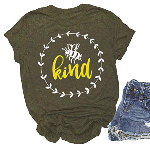 YourTops Women Bee Kind T-Shirt Graphic Shirt (US XL, Z-Army Green) Adult Army Green T-shirt