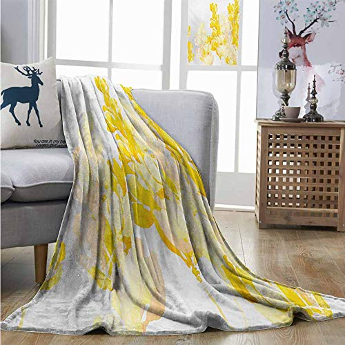 Degrees of Comfort Weighted Blanket Yellow and White Watercolor Art Style Blossoming Wild Flowers Spring Meadow Botany Nature Full Blanket W51 xL60 Yellow White