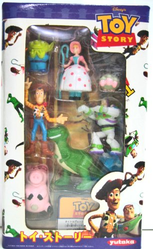 Toy Story Two Inch High Action Figure Set Made By Yutaka Includes Alien Bo Peep & 3 Headed Sheep Buzz Lightyear Woody Rex and Hamm ()