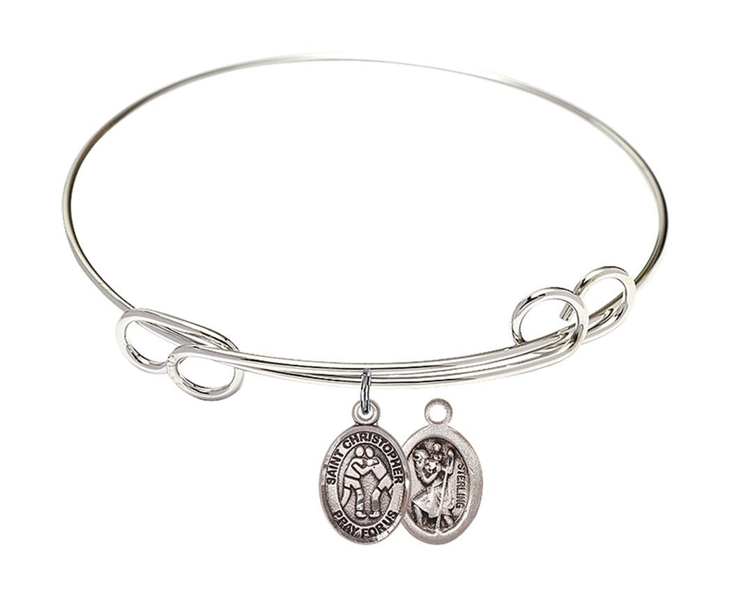 Rhodium Plate Bangle Bracelet with Saint Christopher Wrestling Athlete Petite Charm, 8 Inch