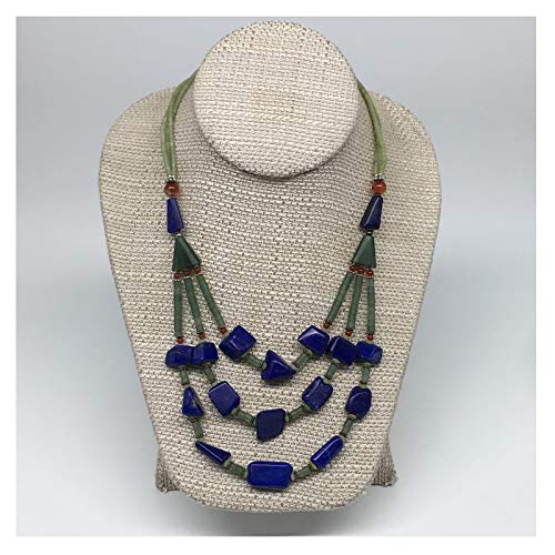 1pc, 2mm - 25mm, Natural Lapis Lazuli Nephrite Jade Multi-Strands Beaded Necklace