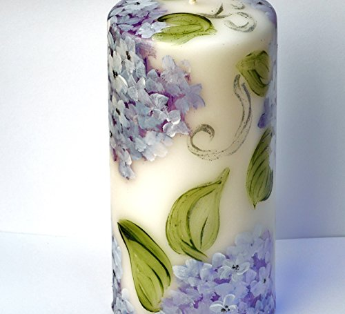 Romantic Large Decorated White Pillar Flower Candle With Hand Painted Lavender Hydrangeas and Silver Swirls