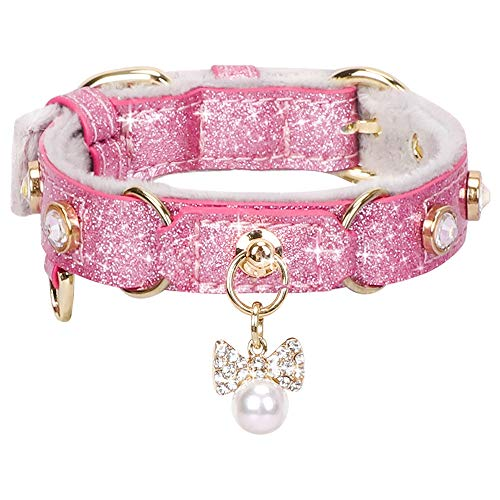 Cat Collar with Bling Rhinestones Leather with Pendant Adjustable PetsHome