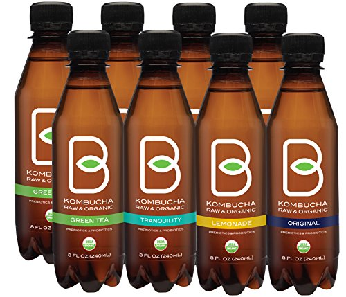 - B-tea Kombucha Raw Organic Tea, Only 2g of Sugar, Probiotics and Prebiotic, Promotes Healthy Weight Loss, Kosher, 8 oz., 8 Count