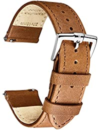 B&E Quick Release Watch Bands Strap Top Smooth Genuine Leather for Men & Women - Lite Vintage Style Wristbands for Traditional & Smart Watch - 16mm 18mm 20mm 22mm 24mm Width Available - LTBNBN22