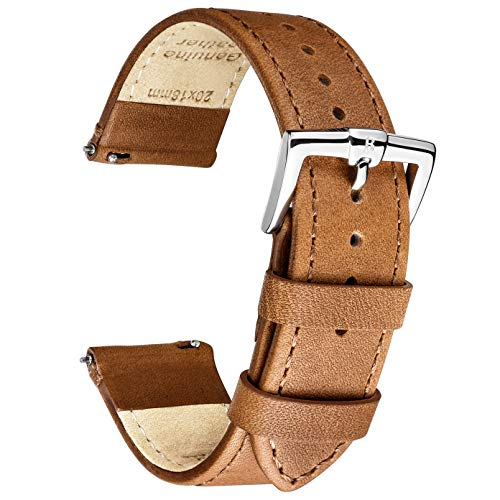 B&E Quick Release Watch Bands Strap Top Smooth Genuine Leather for Men & Women - Lite Vintage Style Wristbands for Traditional & Smart Watch - 16mm 18mm 20mm 22mm 24mm Width Available - LTBNBN22 ()