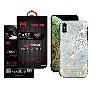Margoun For apple iPhone XS and X Marble Design back cover Case - Gold/White