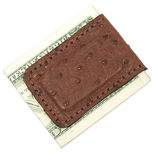Clip Ostrich Money - Genuine Brown Ostrich Leather Magnetic Money Cash Clip Handmade