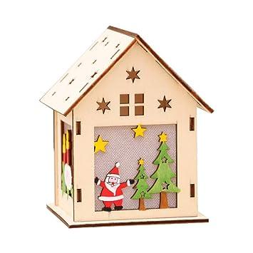 Weihnachtsdeko Weihnachtsdorf.Vosarea Led Holzhäuser Weihnachtshäuser Holz Weihnachtsbaum Anhänger