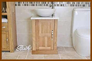 Bathroom Oak Vanity Unit With White Marble Top U0026 Bowl 309WM5025