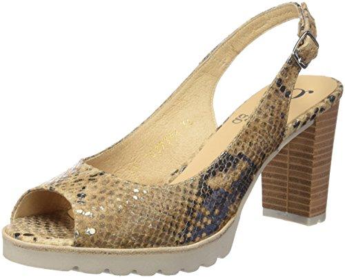 Gadea 40570, Zapatos de Tacón con Punta Abierta para Mujer Dorado (Atenea Canela)