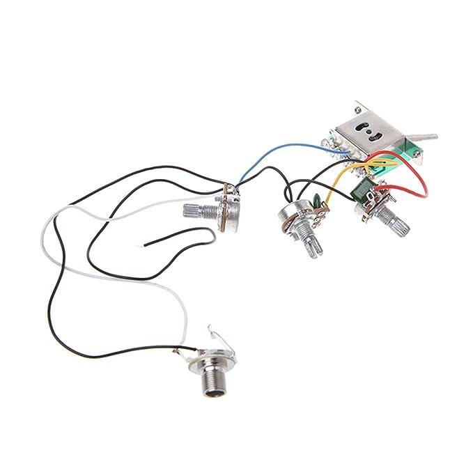 JOYKK Mazo de Cables del Circuito de Guitarra eléctrica 5 Maneras Interruptor 2V1T1J A500K B500K - Plateado: Amazon.es: Hogar
