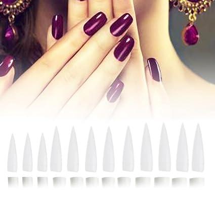 Gowind6 uñas falsas 12 piezas de uñas postizas de manicura puntas largas puntas de salón de