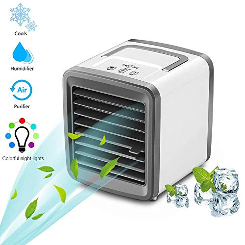 Layopo Mini Air Conditioner Fan with Colorful Night Light, Portable Personal Space Air Cooler, USB Desktop Cold Fan for Car Room Office