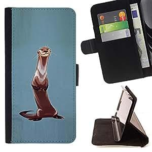 "For Sony Xperia Z5 Compact Z5 Mini (Not for Normal Z5),S-type Nutria Animal pintura Naturaleza Pintura"" - Dibujo PU billetera de cuero Funda Case Caso de la piel de la bolsa protectora"
