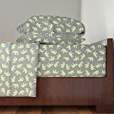 Roostery Greygreen 4pc Sheet Set Green Polka Elephants Grey by Smuk Queen Sheet Set made with